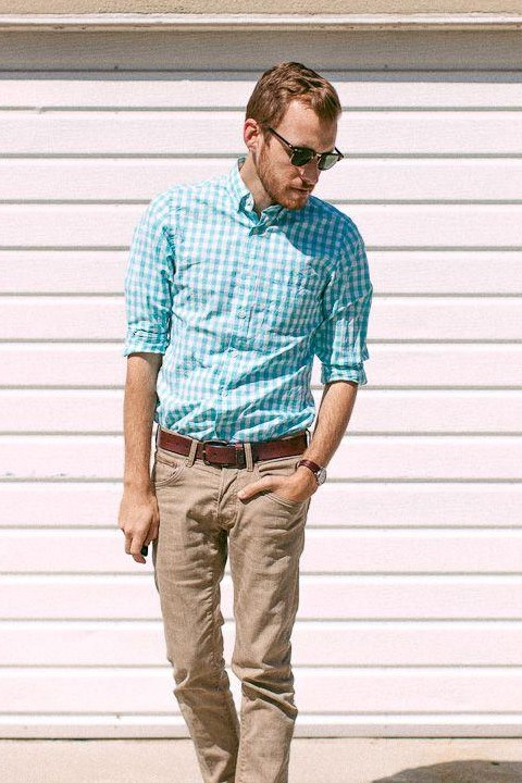 i am looking for a similar sky blue gingham print shirt and beige colour pant hep? - SeenIt