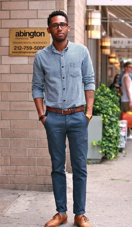 I am looking for a similar gingham print shirt and blue pant help? - SeenIt