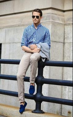 I am looking for similar blue gingham print shirt, beige pants and blue tassel loafers help me? - SeenIt