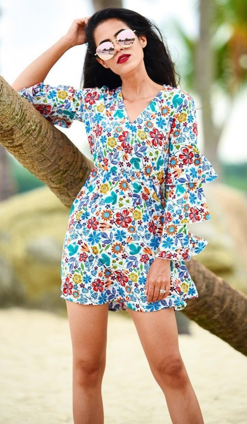 Want this multicolor floral ruffle sleeved mini dress that aakritiranagill is wearing. - SeenIt