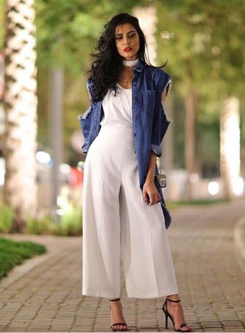 Want the white top and pants as well as the blue denim jacket, white choker and black stilettos from Indian sites. ❤️ - SeenIt