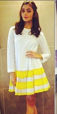 Looking for this horizontally striped yellow and white dress that Alia is wearing. Domestic sites.Someone pls help.TIA. - SeenIt