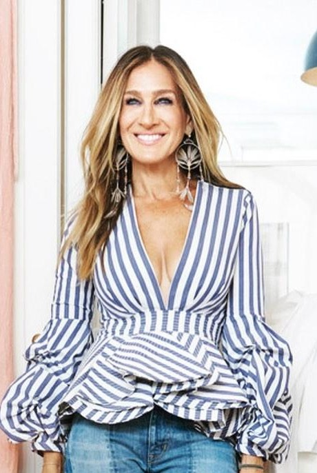 I am looking for a similar stripped ruffle top as seen on sarah jessica parker. - SeenIt