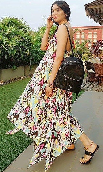 I want this ikat print asymmetrical maxi dress that Adah Sharma is wearing. - SeenIt