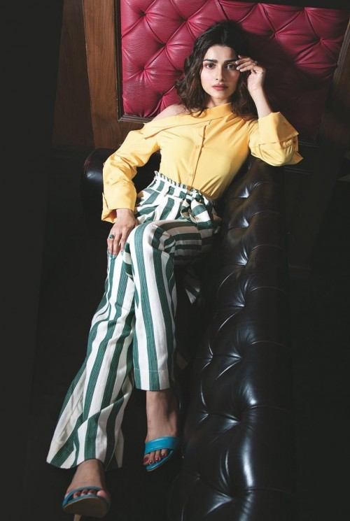 I am looking for this one shoulder yellow shirt and green striped pants as seen on prachi desai help me? - SeenIt