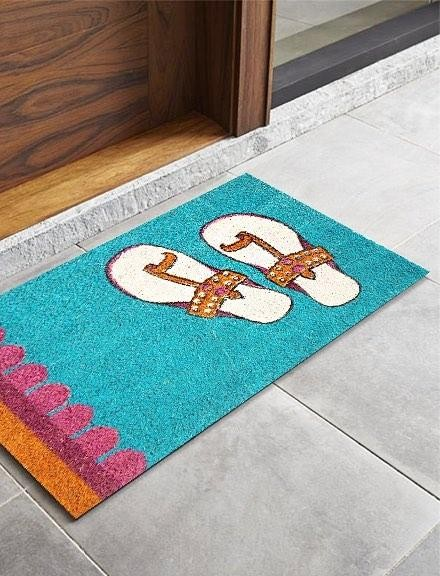 Help me find this chappals printed teal colour doormat online. - SeenIt
