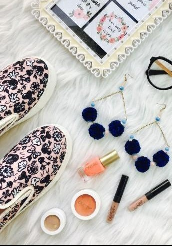 This collection...the printed slipons, eye glasses, pom pom earrings, peach nail paint - SeenIt