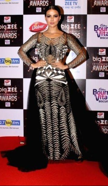Yay or Nay? Sana Khan wearing a black and silver trail gown at the Big Zee Entertainment awards last night - SeenIt