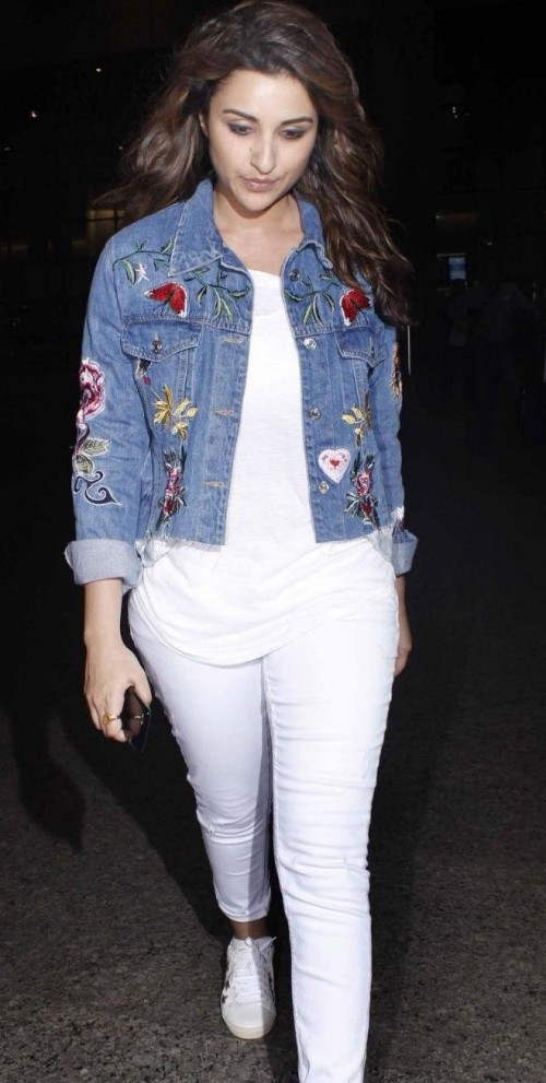 Looking for the white tee with jeans along with the sneakers and the blue denim patch jacket that Parineeti Chopra is wearing - SeenIt
