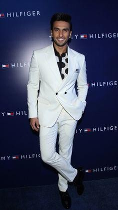 Looking for the white blazer with white pants and the black oxford shoes that Ranveer Singh is wearing - SeenIt