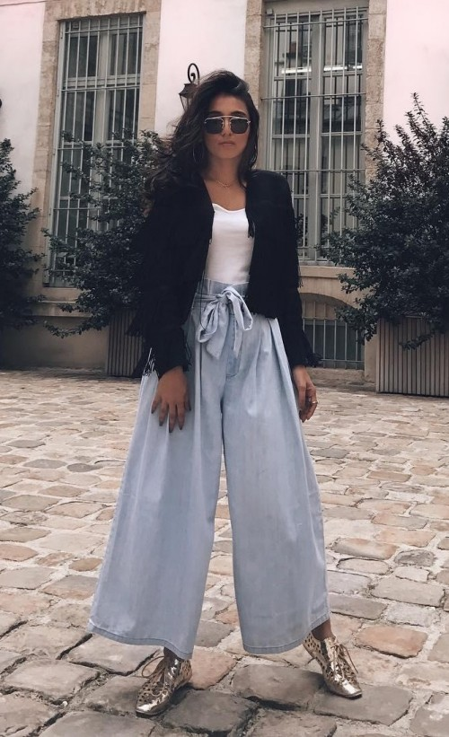Looking for this white top with black jacket and pastel blue culottes as seen in missstylefiesta - SeenIt