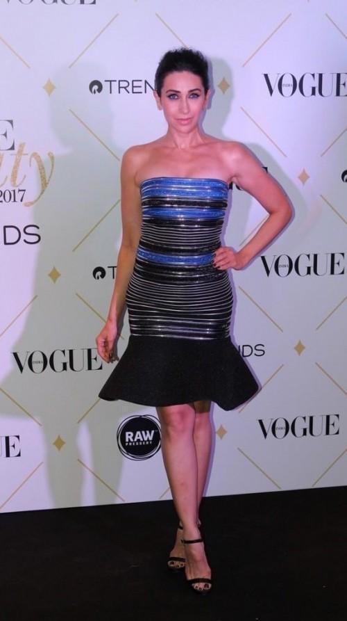 Yay or Nay? Karisma Kapoor wearing an Amit Aggarwal peplum dress at the Vogue Beauty Awards 2017 - SeenIt