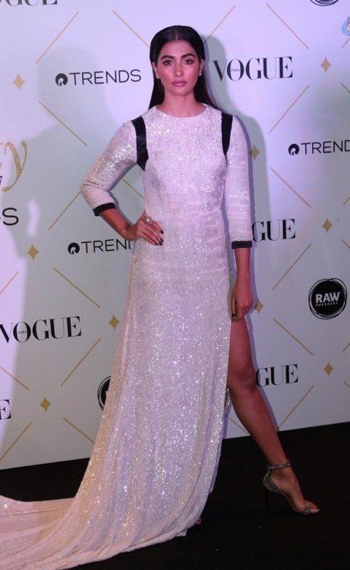Yay or Nay? Pooja Hegde wearing a white shimmer clad slittee gown at the Vogue Beauty Awards last night - SeenIt