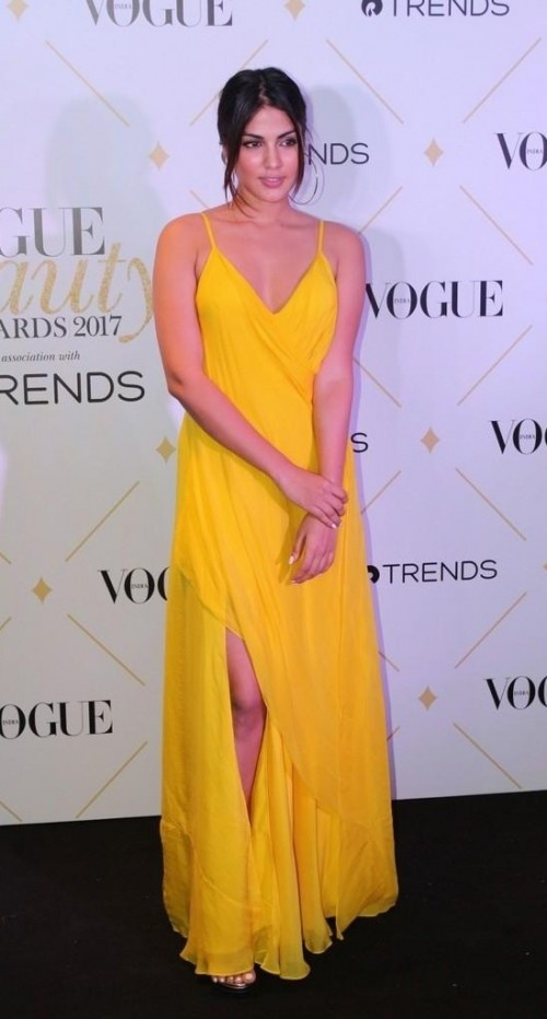 Yay or Nay? Rhea Chakraborty wearing a canary yellow strappy plunging gown at the Vogue Beauty Awards 2017 - SeenIt