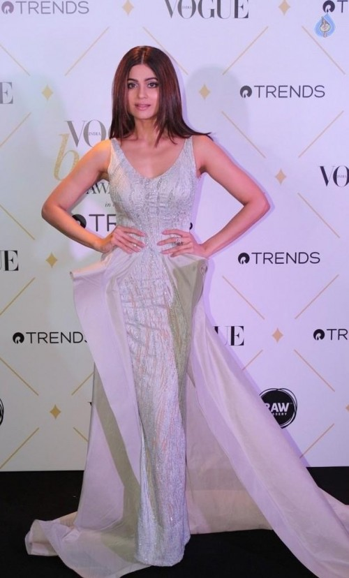Yay or Nay? Shamita Shetty wearing a white embellished trail gown at the Vogue Beauty Awards 2017 - SeenIt