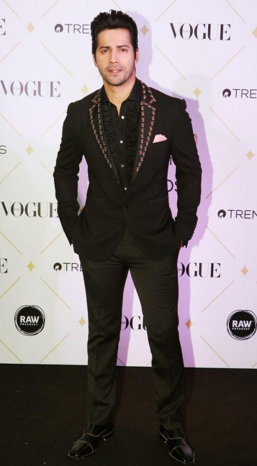 Yay or Nay? Varun Dhawan spotted in black at the Vogue Beauty Awards last night in Mumbai - SeenIt