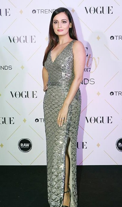 Yay or Nay? Dia Mirza wearing a silver embellished side slitted gown at the Vogue Beauty Awards 2017 - SeenIt