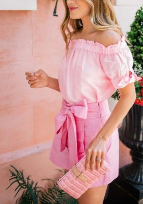Looking for an off shoulder top, bow shorts and wallet/clutch in this same shade of pink - SeenIt