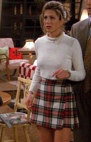 Looking for the white turtleneck top and plaid skirt which Rachel Green is wearing - SeenIt