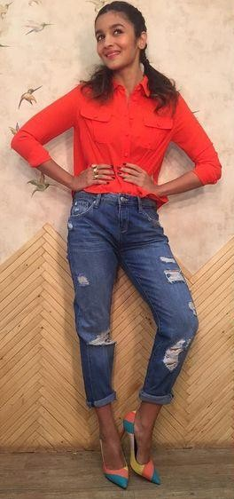 I am looking for same red shirt, blue ripped jeans and multicoloured shoes alia bhatt is wearing for kapoor and sons promotions - SeenIt
