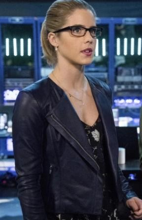 looking for a similar blue leather jacket like felicity is wearing - SeenIt