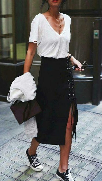 Can you help me find a similar black lace up skirt, white tshirt and black converse shoes? - SeenIt