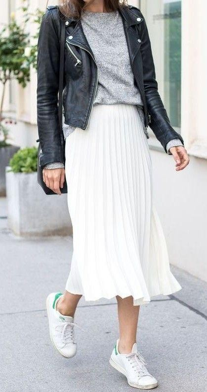 Looking for this grey tshirt, black leather jacket, white pleated midi skirt and sneakers. - SeenIt