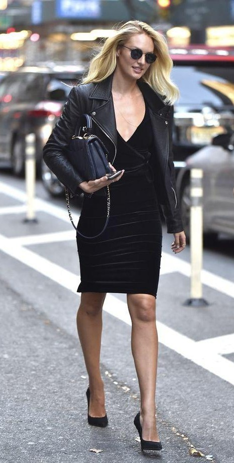 Looking for a similar black bodycon dress with leather jacket like Candice Swanepoel is wearing - SeenIt