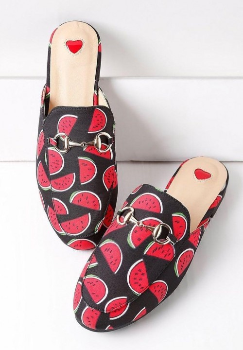 Looking for these watermelon printed mules online. - SeenIt