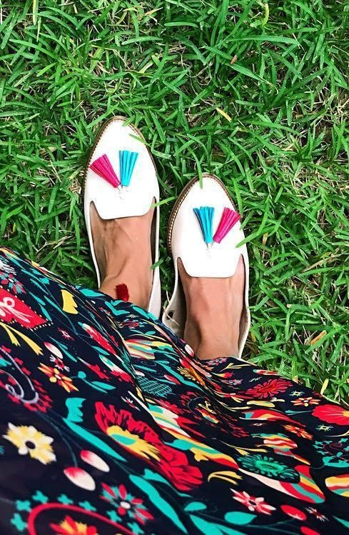 These white loafers with blue and hot pink tassels are what I am looking for. - SeenIt