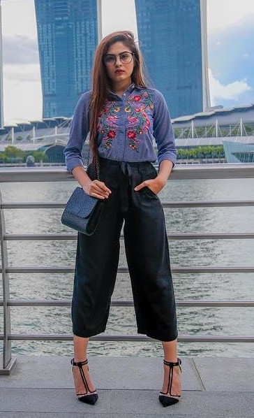 Looking for the blue floral shirt with black culottes as seen in Mehakghai - SeenIt