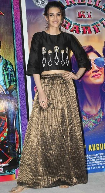 I am looking for same black printed top and metallic skirt which Kriti Sanon is wearing for Bareilly Ki Barfi promotions - SeenIt