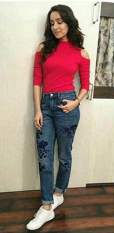 I am looking for a similar red cold-shoulder top like the one which Shraddha Kapoor is wearing - SeenIt