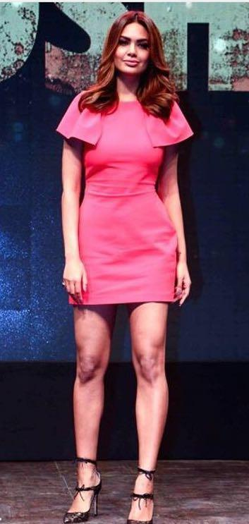 846ffefdeb80 Yay or Nay  Esha Gupta spotted wearing a pink Armani Jeans dress at the  promotions
