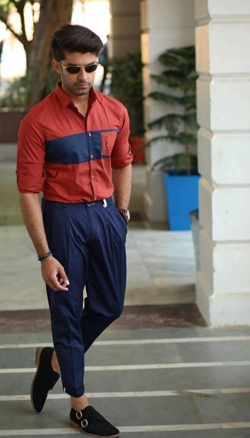 Need this red and navy colour block shirt and navy chinos. - SeenIt