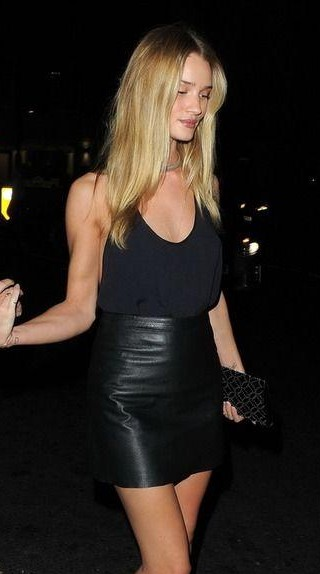 Want this navy blue top with black leather miniskirt as RosieHuntingtonWhiteley is wearing - SeenIt