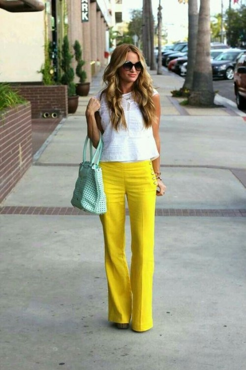 Want similar yellow flared trousers - SeenIt