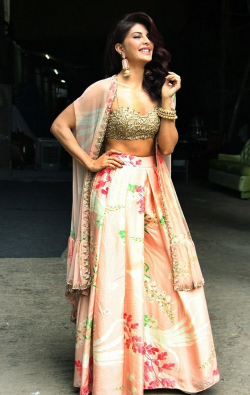 Want a similar pink floral lehenga like the one which Jacqueline Fernandez is wearing for A Gentleman promotions - SeenIt