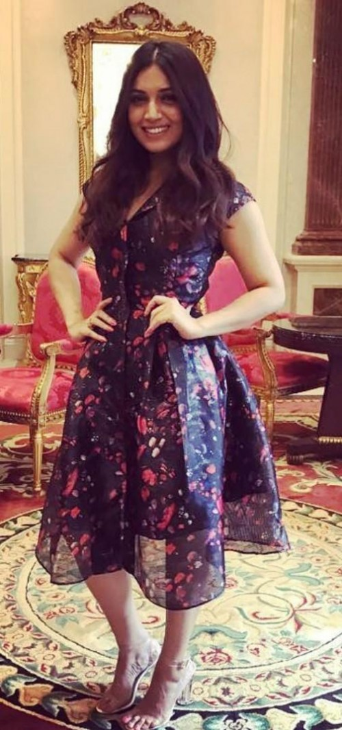 Looking for a similar blue floral dress like the one which Bhumi Pednaker is wearing for Toilet Ek prem katha promotions - SeenIt