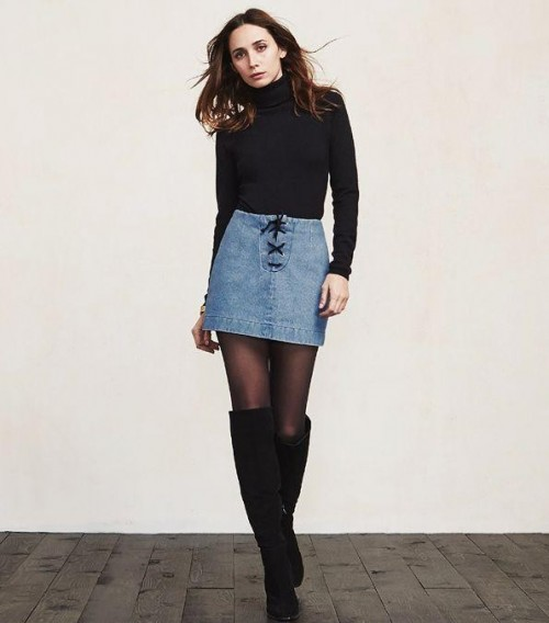 Looking for a black turtleneck top , blue denim skirt and black knee-high boots - SeenIt