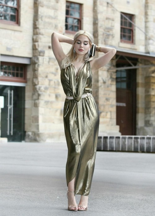 Searching for a similar metallic maxi dress! A lighter shade would work too ! - SeenIt