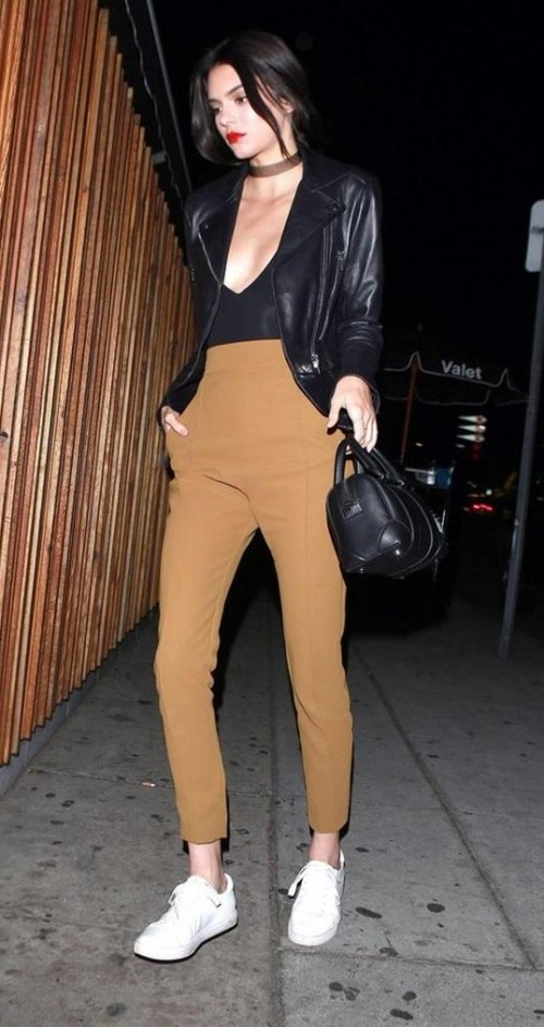 Looking for the black biker jacket with beige pants and white sneakers as KendallJenner is wearing - SeenIt