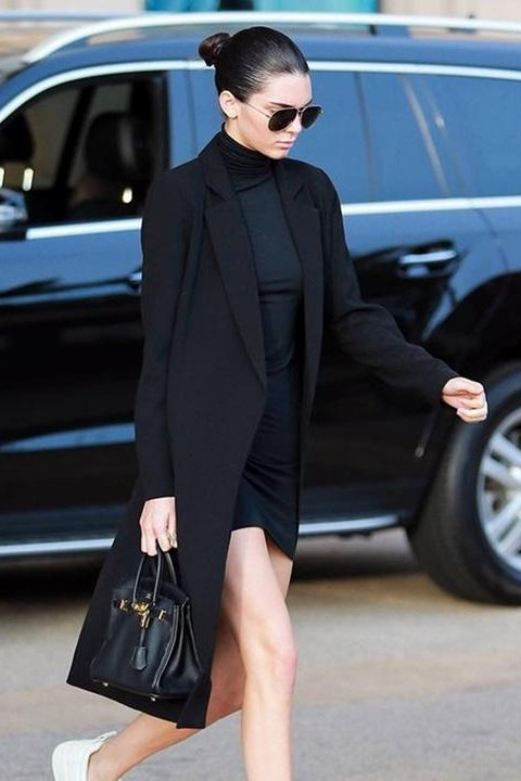 Looking for the black dress with long jacket as KendallJenner is wearing - SeenIt