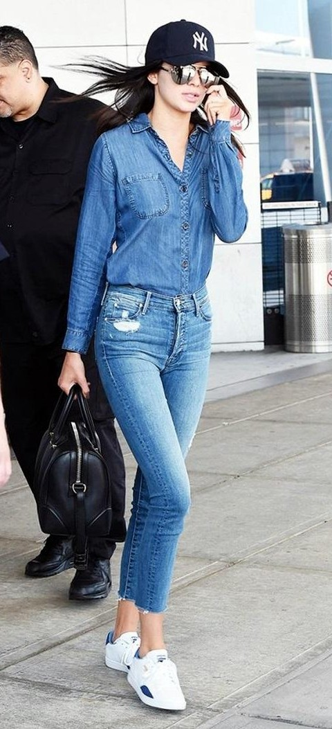 Want the denim shirt with jeans to recreate this denim-on-denim look of Kendall Jenner - SeenIt
