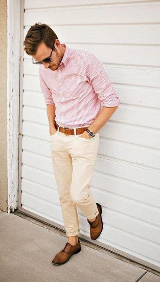 Looking for the pink shirt with beige pants and a tan belt - SeenIt