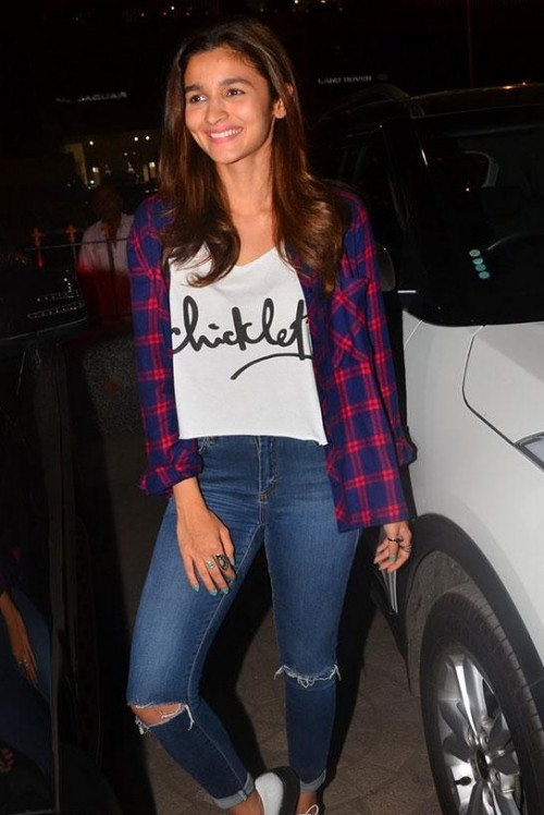 The checkered shirt and the cami which Alia Bhatt is wearing - SeenIt