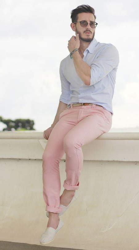 Want similar light blue shirt with light pink chino and white loafers - SeenIt