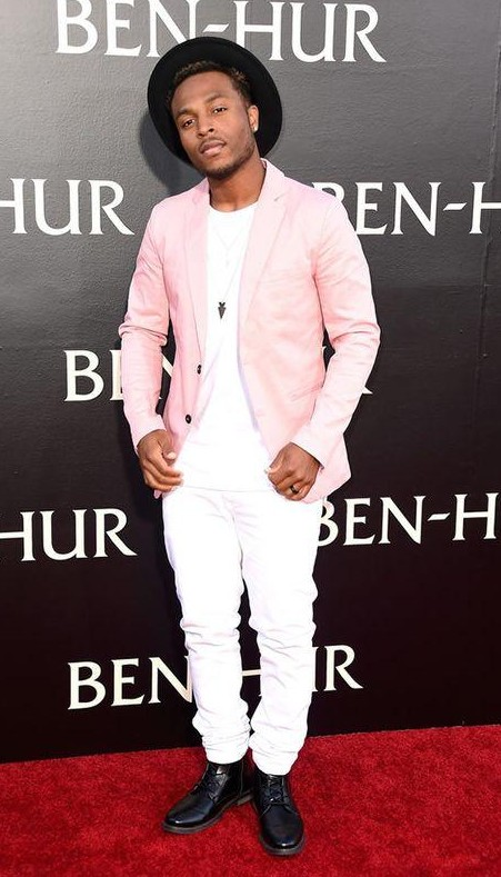 Looking for similar pink blazer, white tee and jeans - SeenIt