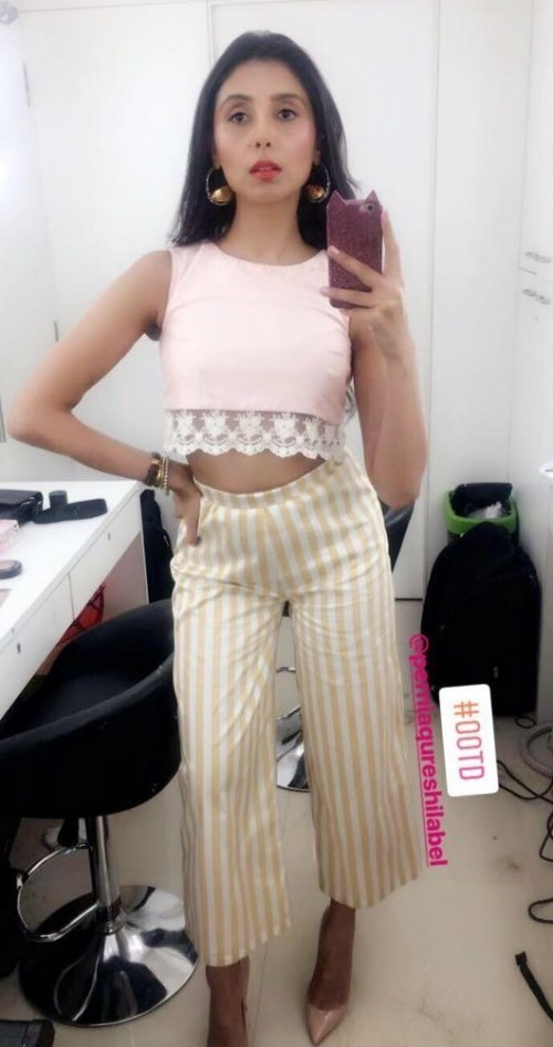 want the pink croptop and yellow white striped culotte pants which Pernia Qureshi is wearing - SeenIt