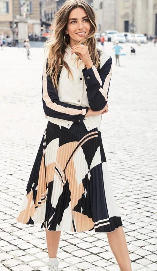 Where can I find a similar colourblock pleated midi skirt? - SeenIt